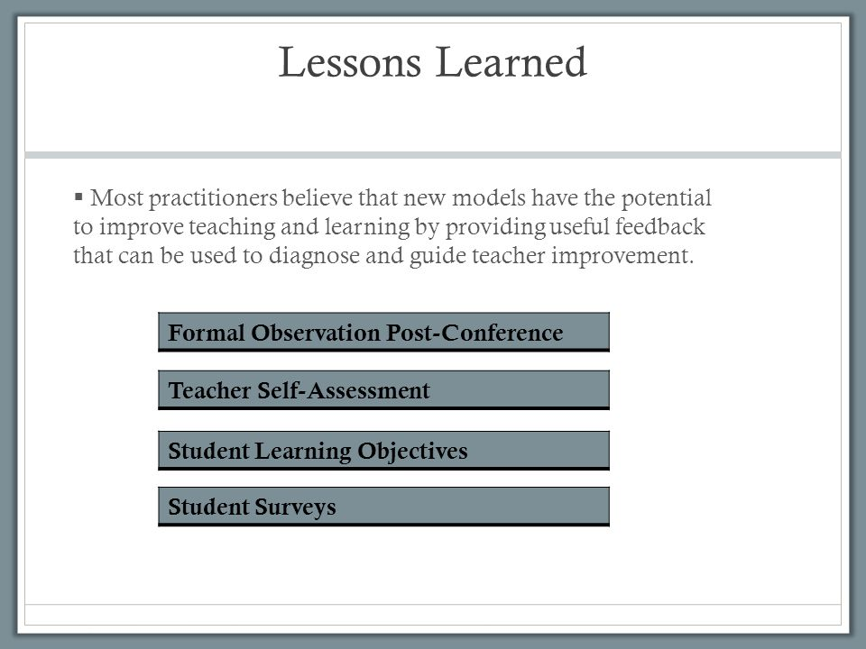 Lessons Learned Formal Observation Post-Conference