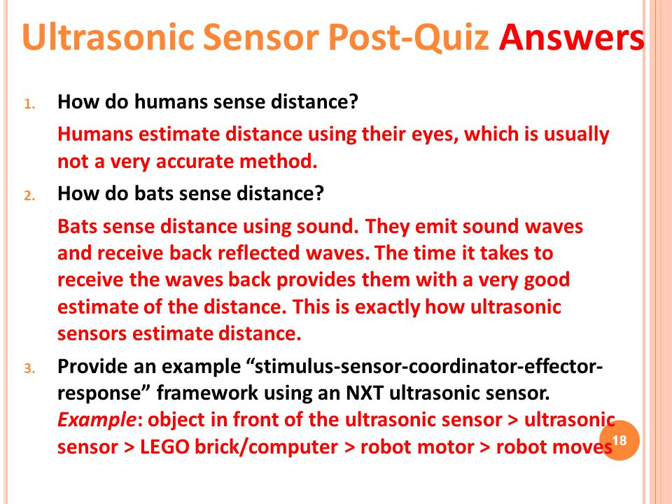 Ultrasonic Sensor Post-Quiz Answers