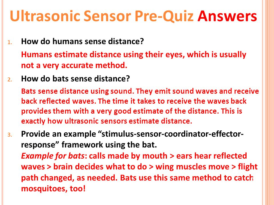 Ultrasonic Sensor Pre-Quiz Answers