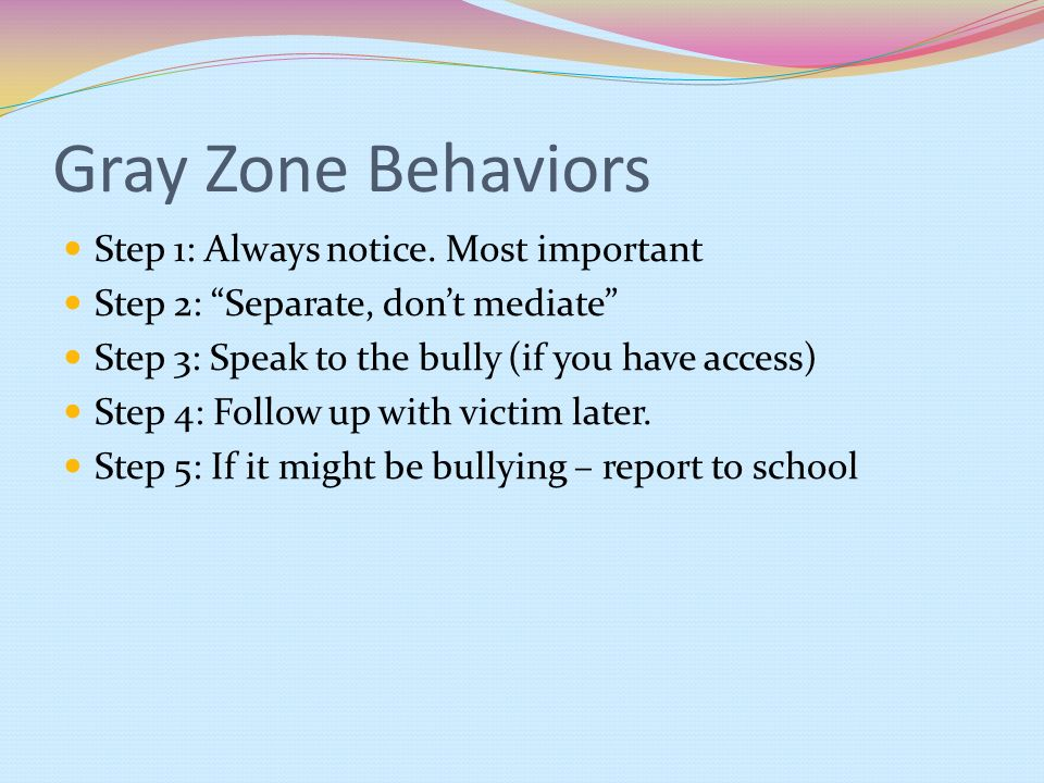 Gray Zone Behaviors Step 1: Always notice. Most important
