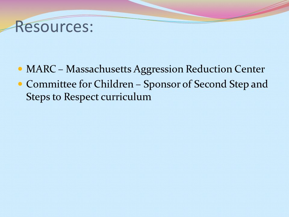 Resources: MARC – Massachusetts Aggression Reduction Center