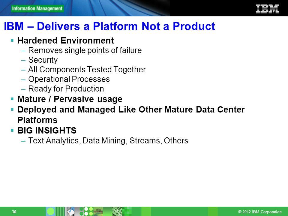 IBM – Delivers a Platform Not a Product