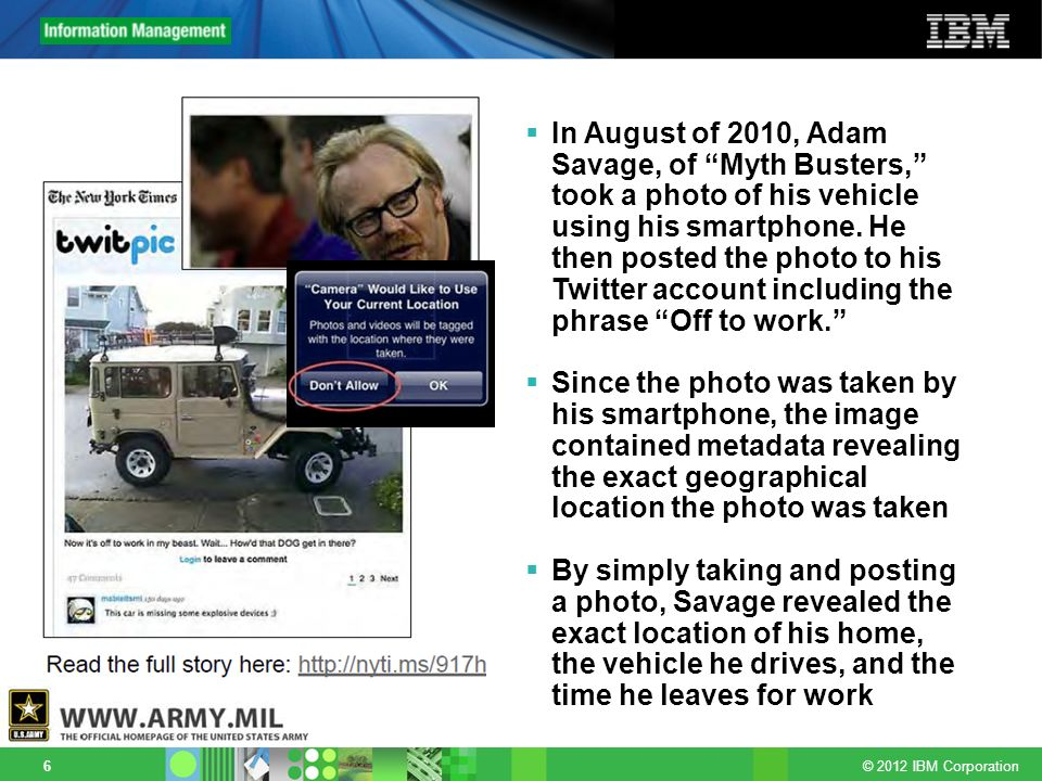 In August of 2010, Adam Savage, of Myth Busters, took a photo of his vehicle using his smartphone. He then posted the photo to his Twitter account including the phrase Off to work.