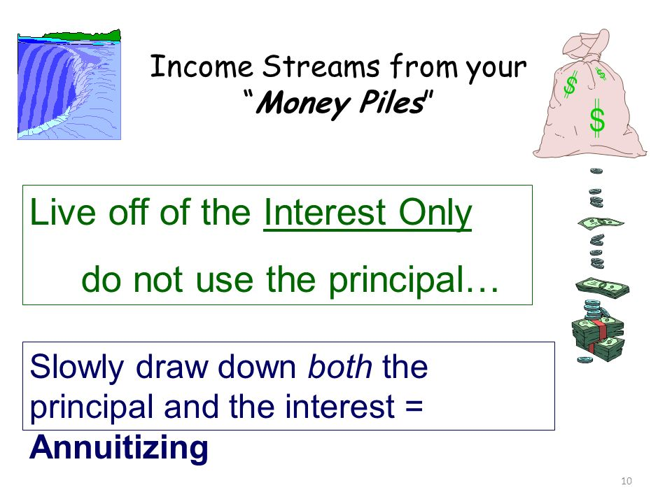 Income Streams from your Money Piles