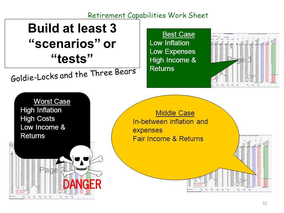 Build at least 3 scenarios or tests