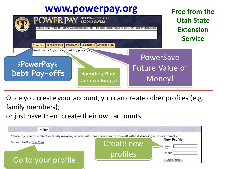 Free from the Utah State Extension Service PowerPay Debt Pay-offs