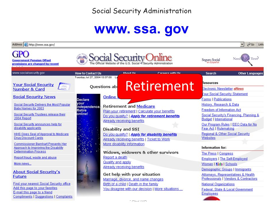 Retirement www. ssa. gov Social Security Administration