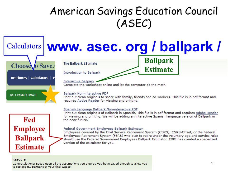 www. asec. org / ballpark / Fed Employee Ballpark Estimate