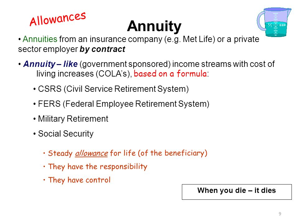 Allowances Annuity. Annuities from an insurance company (e.g. Met Life) or a private sector employer by contract.