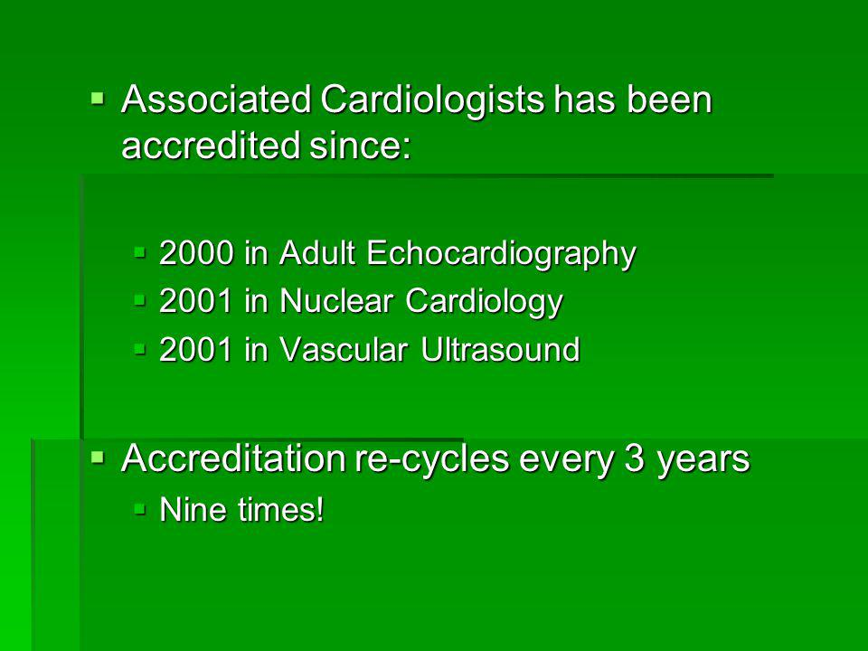 Associated Cardiologists has been accredited since: