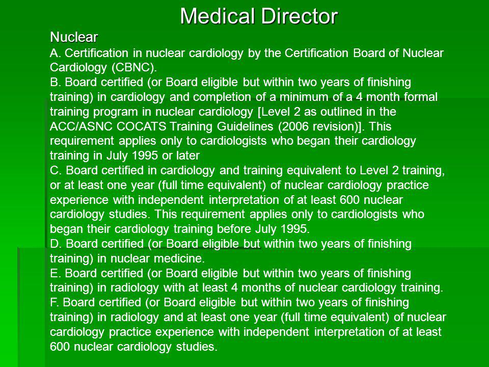 Medical Director Nuclear