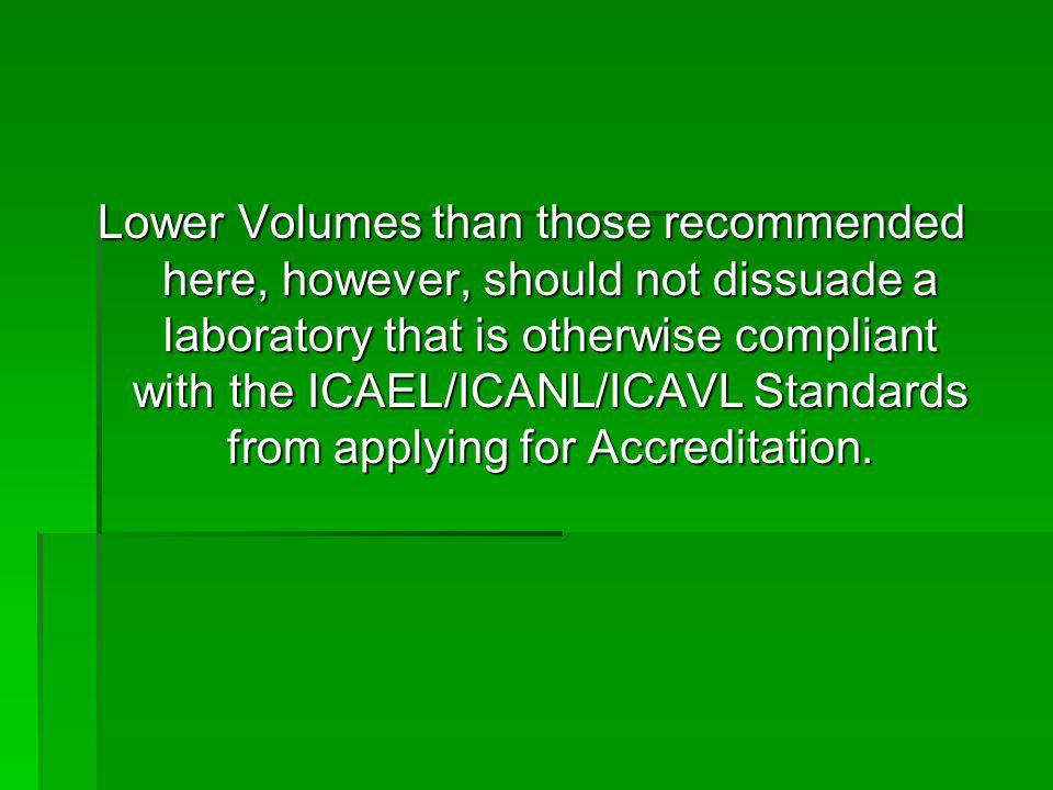 Lower Volumes than those recommended here, however, should not dissuade a laboratory that is otherwise compliant with the ICAEL/ICANL/ICAVL Standards from applying for Accreditation.