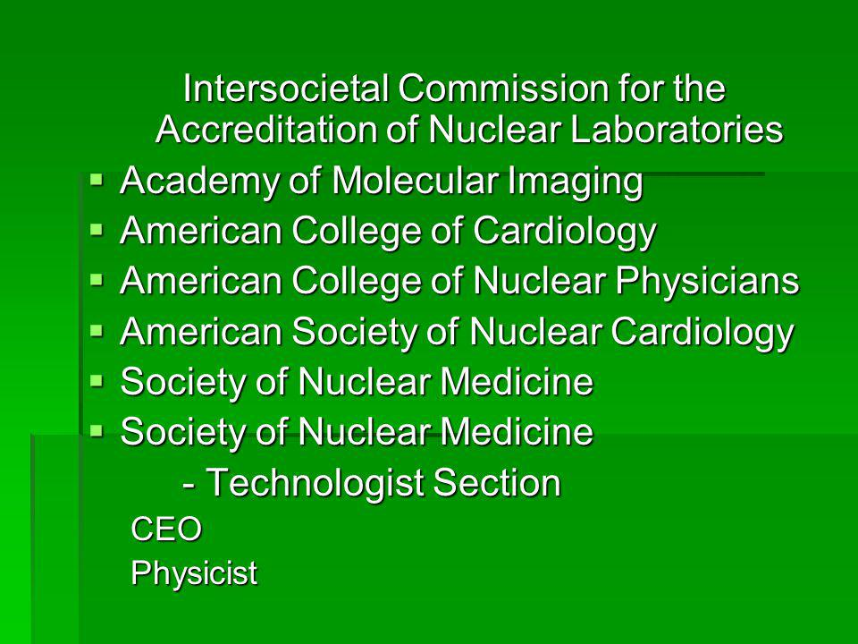 Intersocietal Commission for the Accreditation of Nuclear Laboratories
