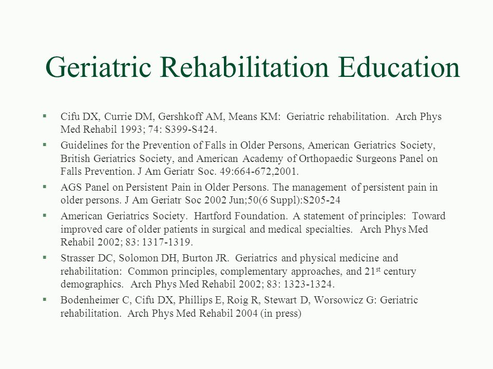 Geriatric Rehabilitation Education