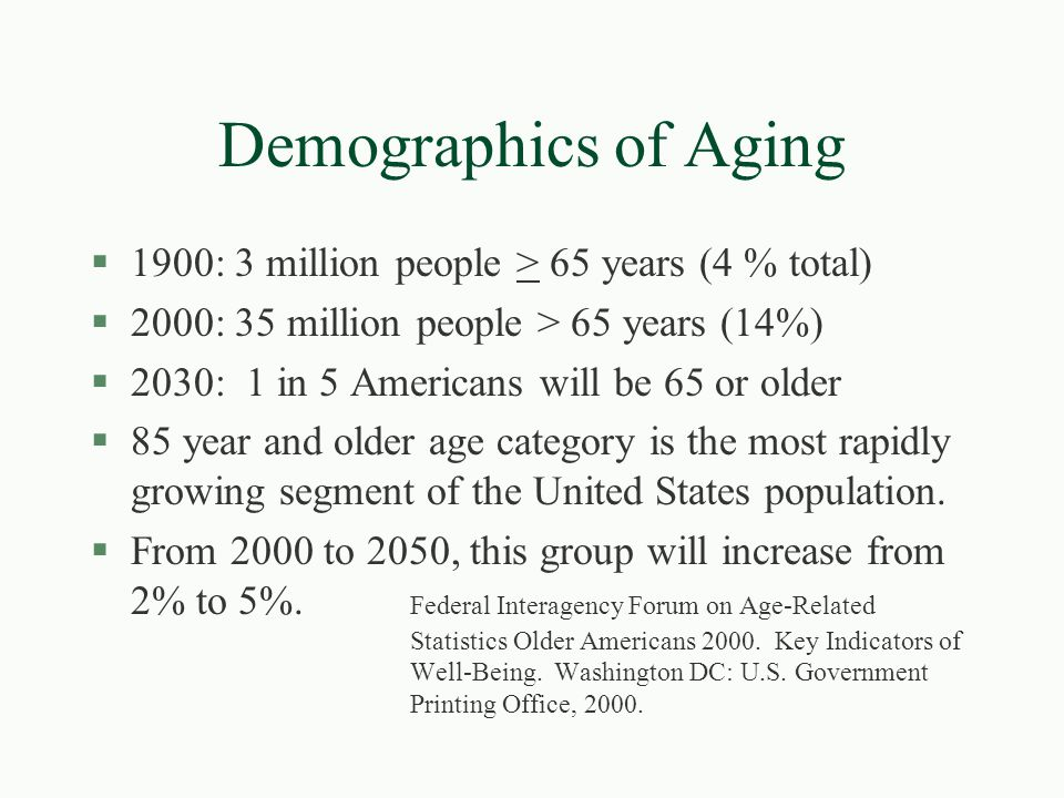 Demographics of Aging 1900: 3 million people > 65 years (4 % total)
