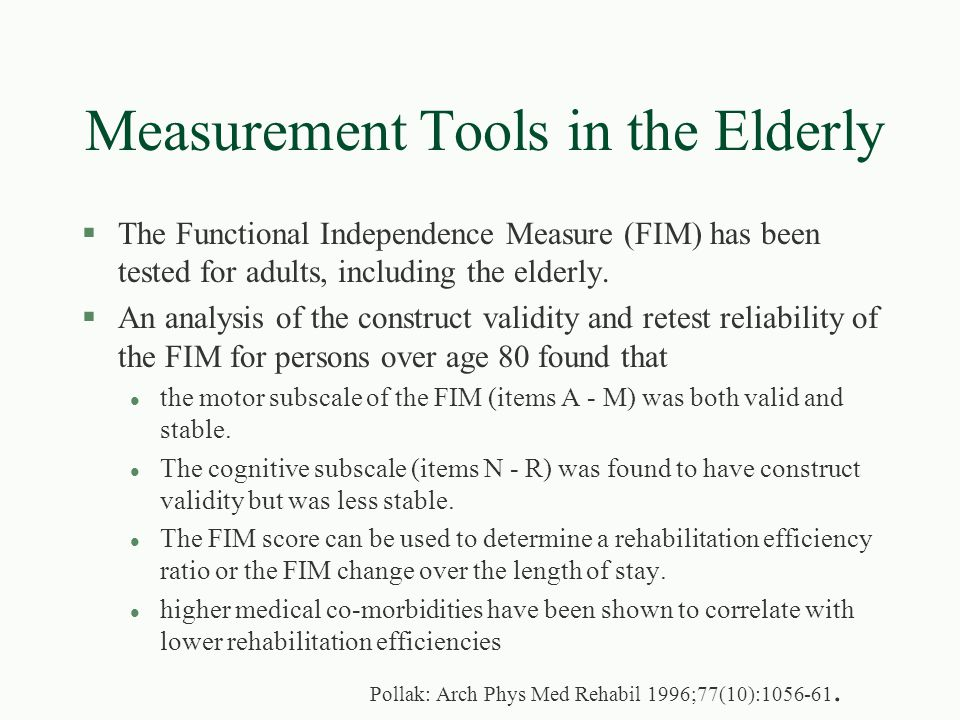 Measurement Tools in the Elderly