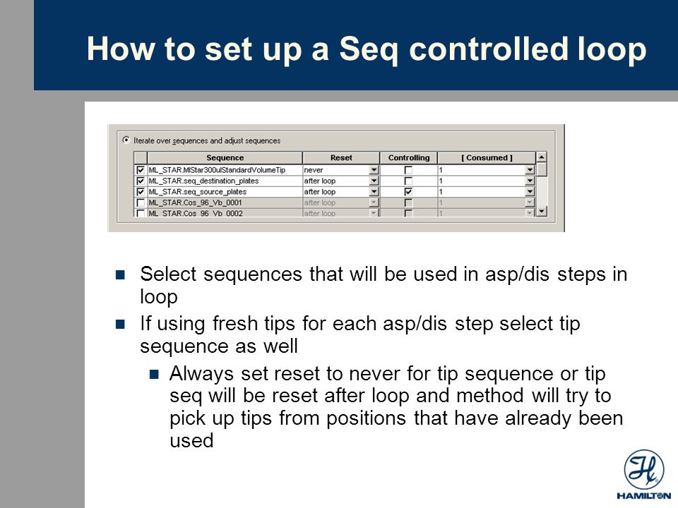 How to set up a Seq controlled loop