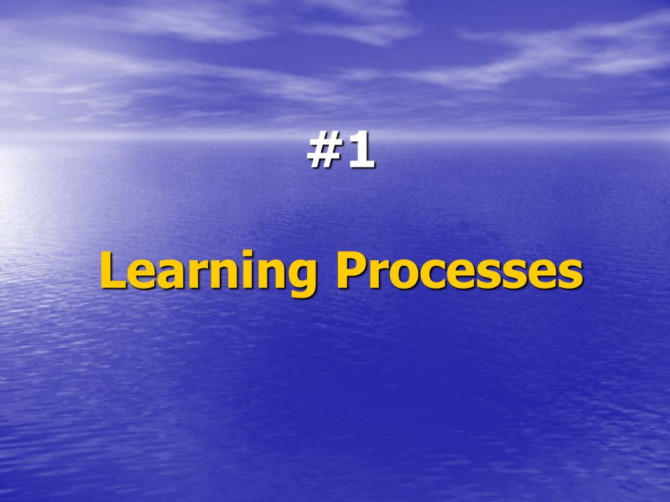 #1 Learning Processes