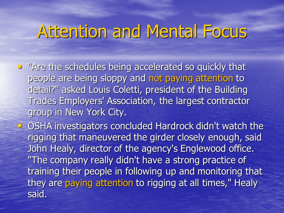 Attention and Mental Focus