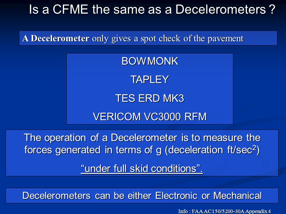 Is a CFME the same as a Decelerometers