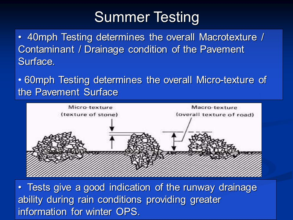 Summer Testing 40mph Testing determines the overall Macrotexture / Contaminant / Drainage condition of the Pavement Surface.