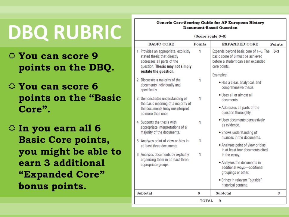 DBQ RUBRIC You can score 9 points on the DBQ.