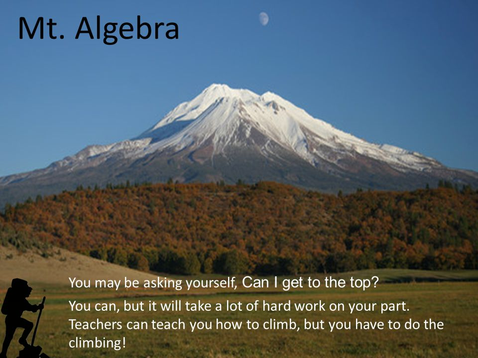 Mt. Algebra You may be asking yourself, Can I get to the top