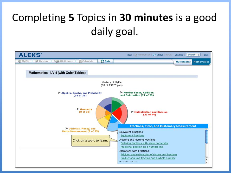 Completing 5 Topics in 30 minutes is a good daily goal.