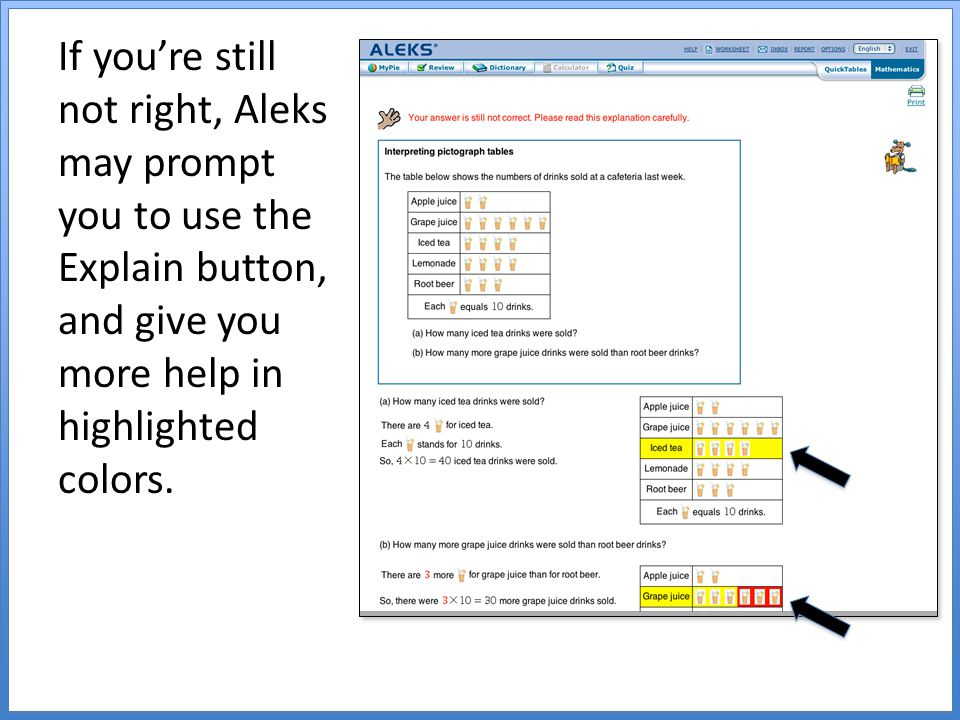 If you're still not right, Aleks may prompt you to use the Explain button, and give you more help in highlighted colors.