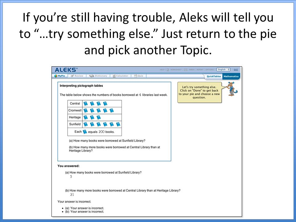 If you're still having trouble, Aleks will tell you to …try something else. Just return to the pie and pick another Topic.
