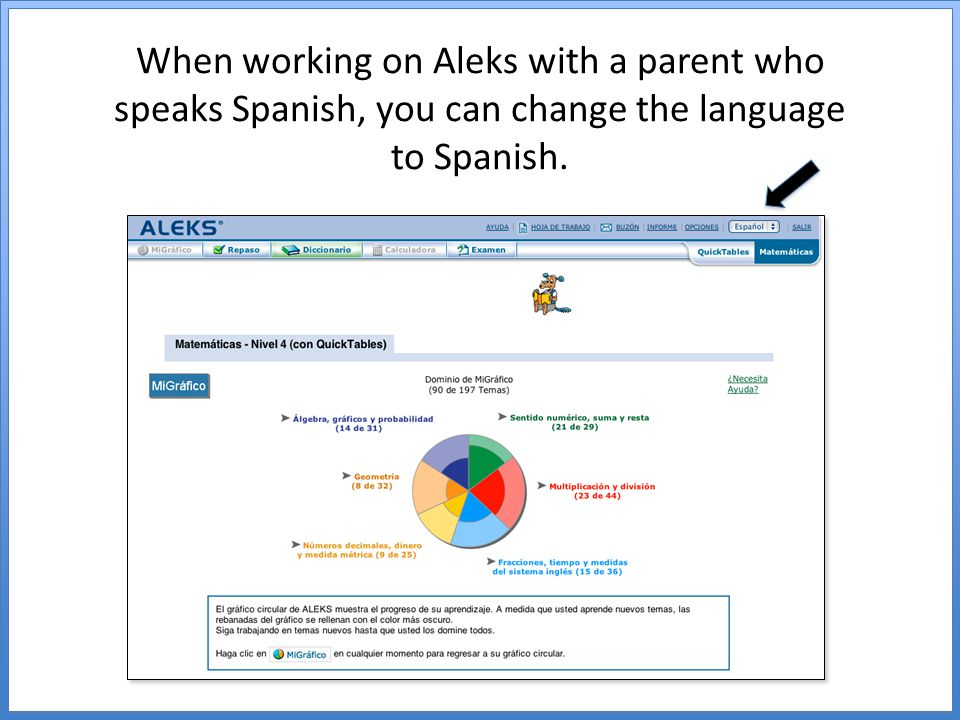 When working on Aleks with a parent who speaks Spanish, you can change the language to Spanish.