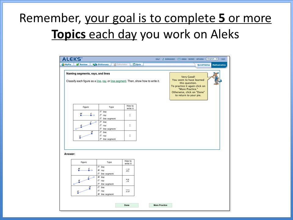 Remember, your goal is to complete 5 or more Topics each day you work on Aleks