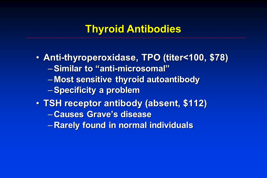 Thyroid Antibodies Anti-thyroperoxidase, TPO (titer<100, $78)