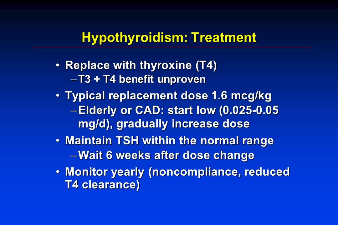 Hypothyroidism: Treatment