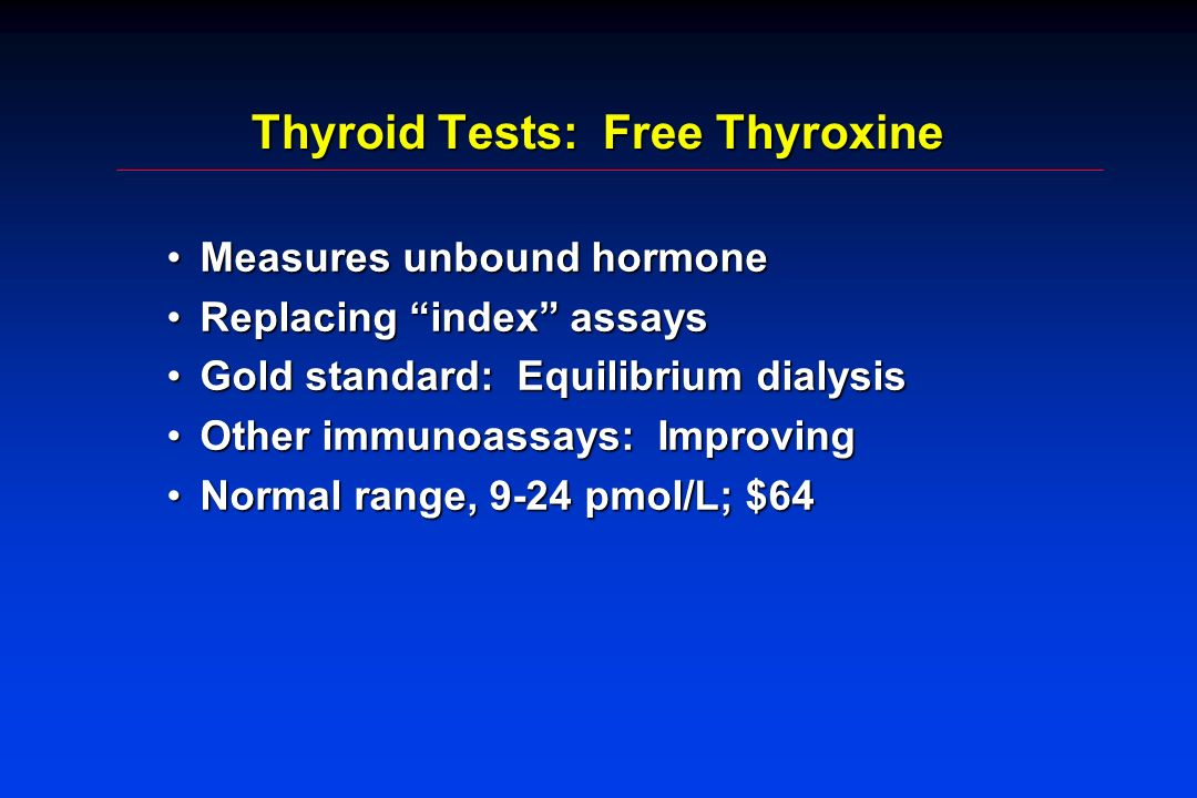 Thyroid Tests: Free Thyroxine