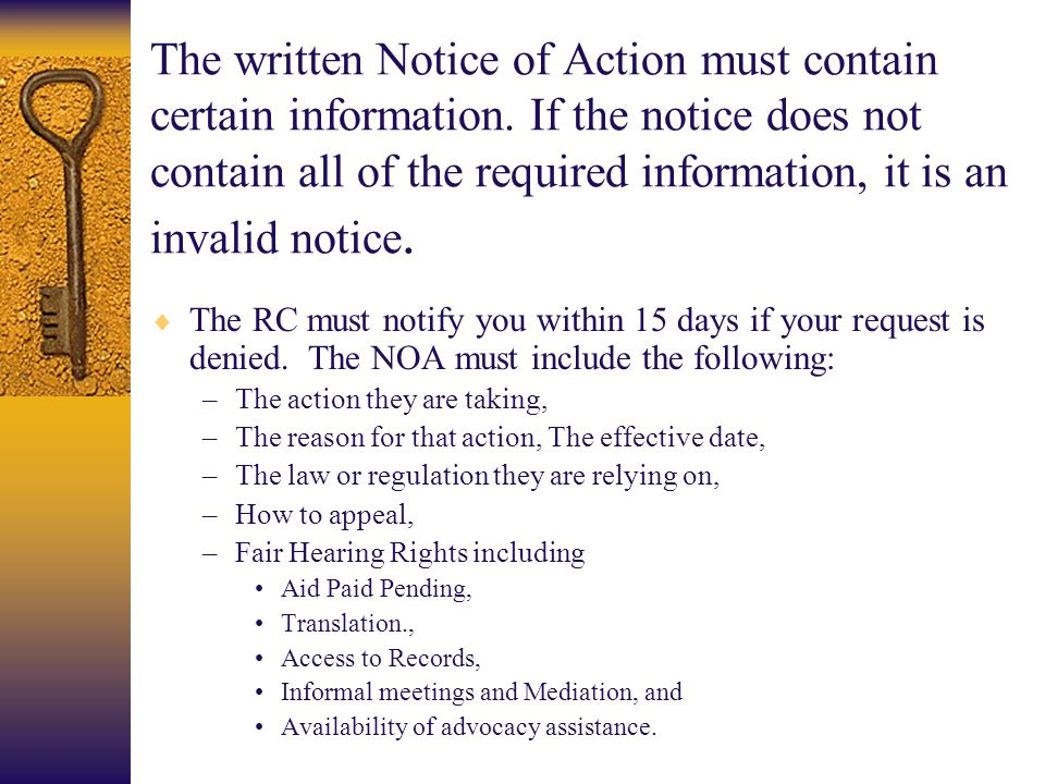 The written Notice of Action must contain certain information
