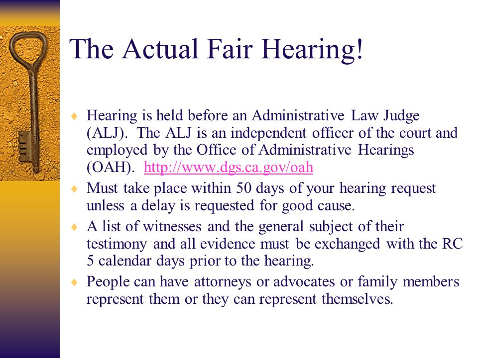 The Actual Fair Hearing!