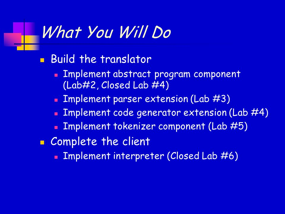 What You Will Do Build the translator Complete the client