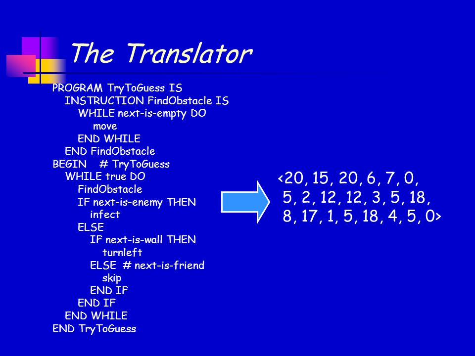 The Translator PROGRAM TryToGuess IS. INSTRUCTION FindObstacle IS. WHILE next-is-empty DO. move.