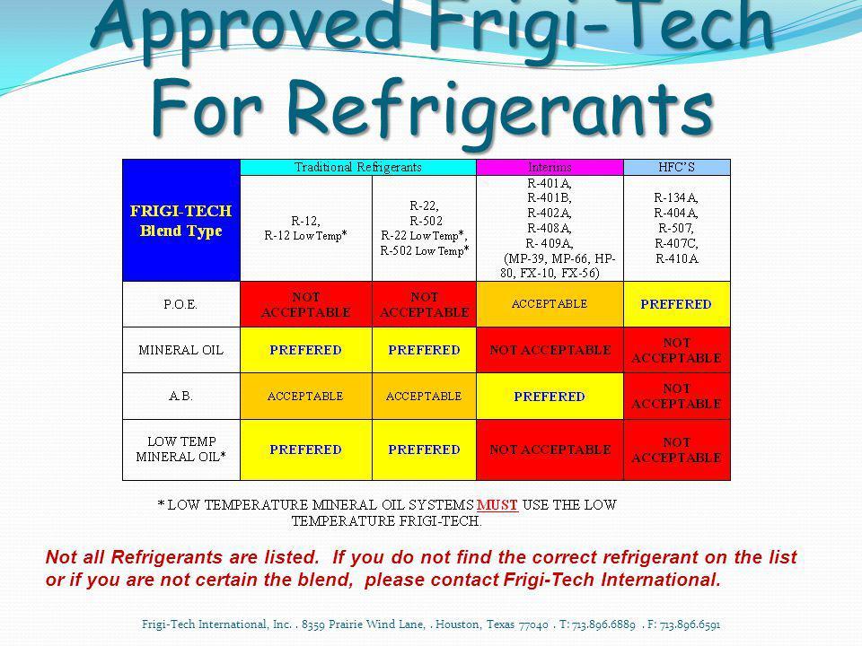 Approved Frigi-Tech For Refrigerants