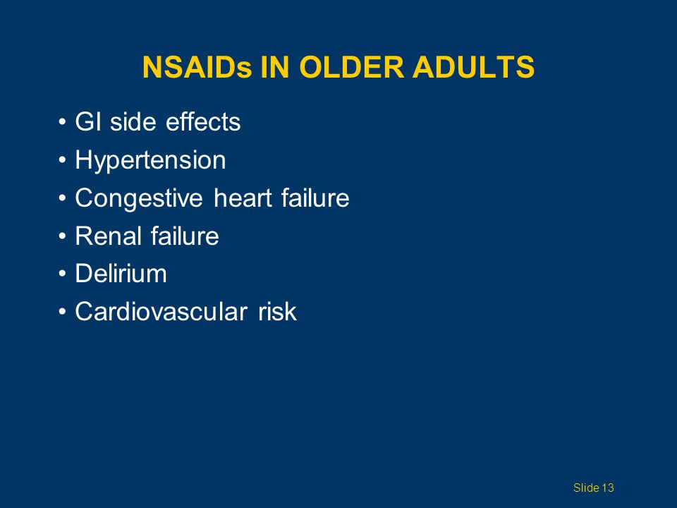 NSAIDs in Older Adults GI side effects Hypertension