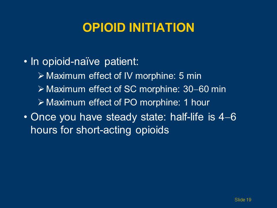 Opioid initiation In opioid-naïve patient: