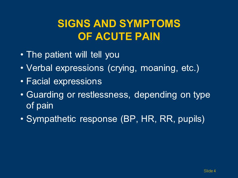 Signs and Symptoms of Acute Pain