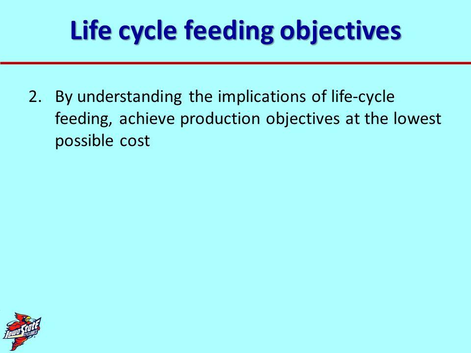 Life cycle feeding objectives