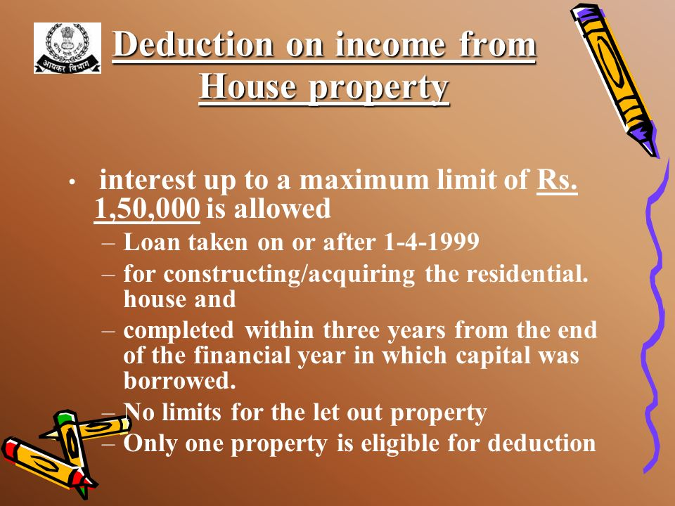 Deduction on income from House property