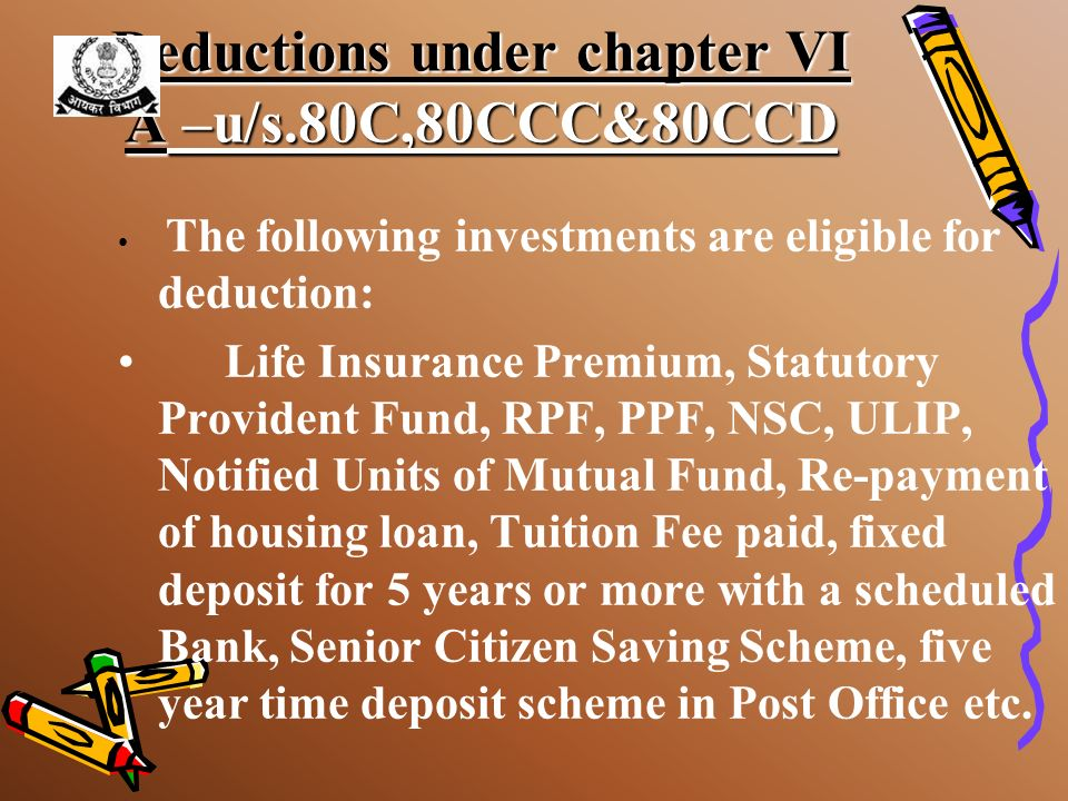Deductions under chapter VI A –u/s.80C,80CCC&80CCD