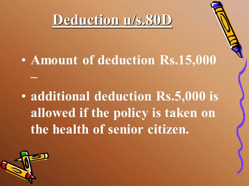 Deduction u/s.80D Amount of deduction Rs.15,000 –