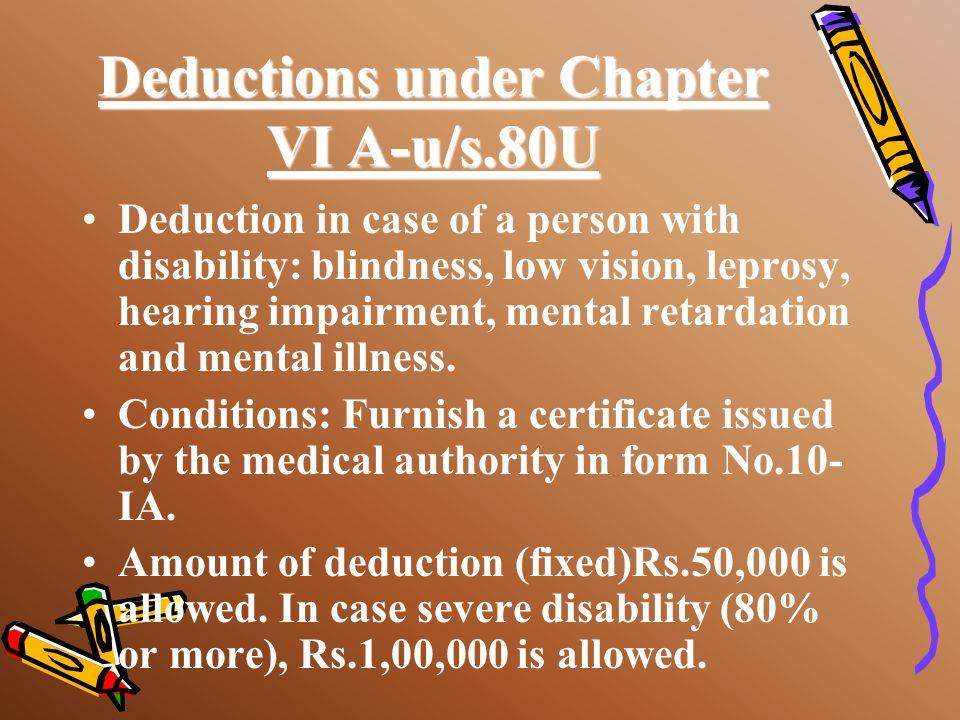 Deductions under Chapter VI A-u/s.80U