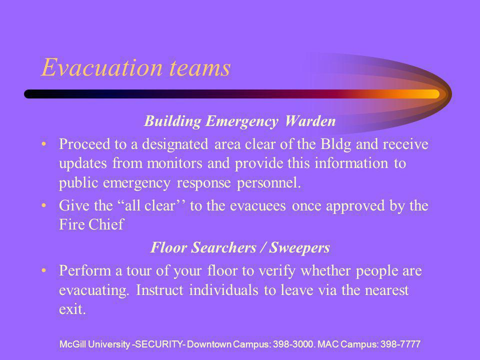 Building Emergency Warden Floor Searchers / Sweepers