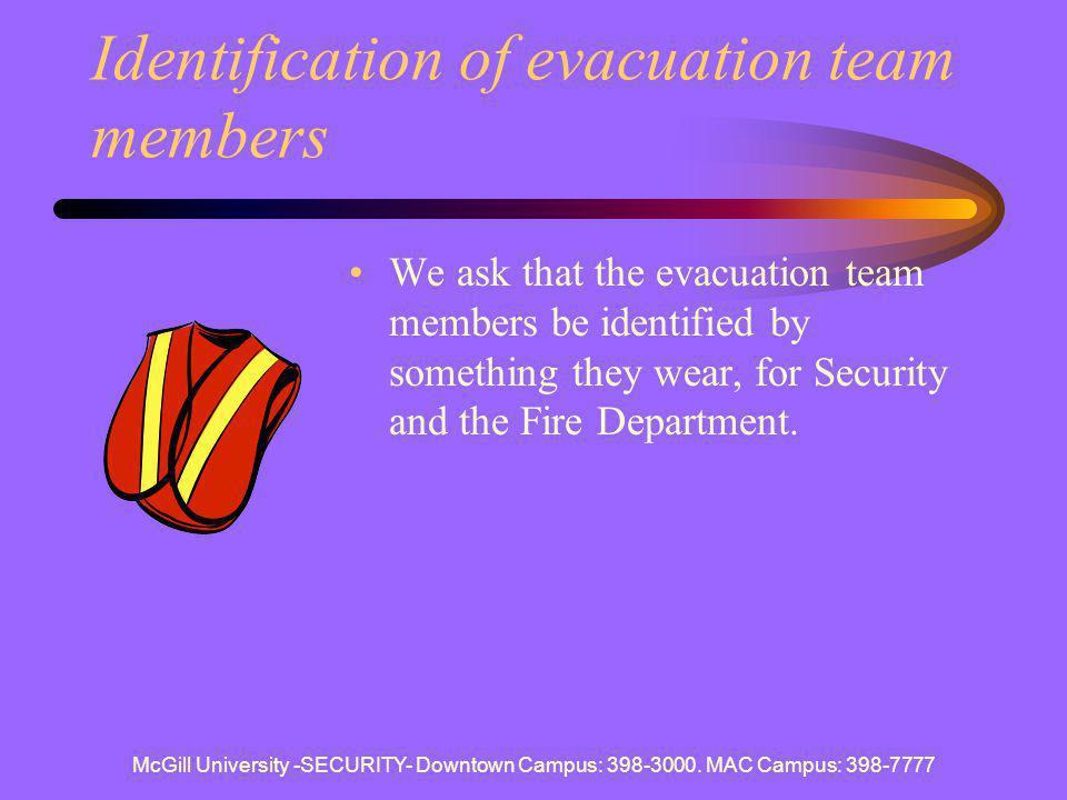 Identification of evacuation team members